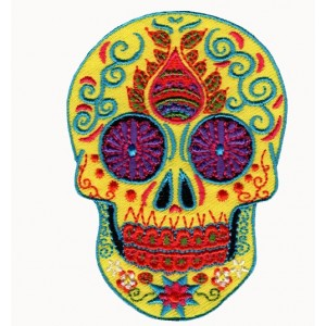 Coloful skull embroidered badge