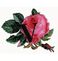 Colorful flower iron on embroidered badge