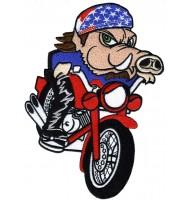 Motor-biker PIG embroidered badge