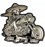Riding skull embroidered badge