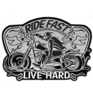 LIVE HARD motorcycle embroidered badge