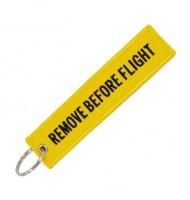 Yellow Remove Before Flight key chain