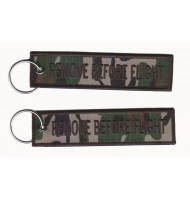 Embroidered keychain with camouflage fabric